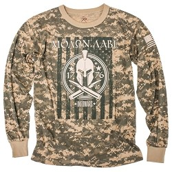 Tan Camo Long Sleeve Molon Labe Shirt